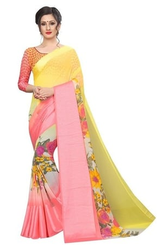 Flower Print Chiffon Saree