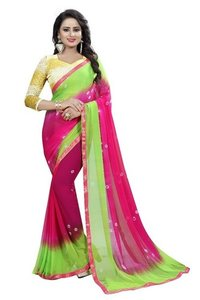 Pink Green Chiffon Saree