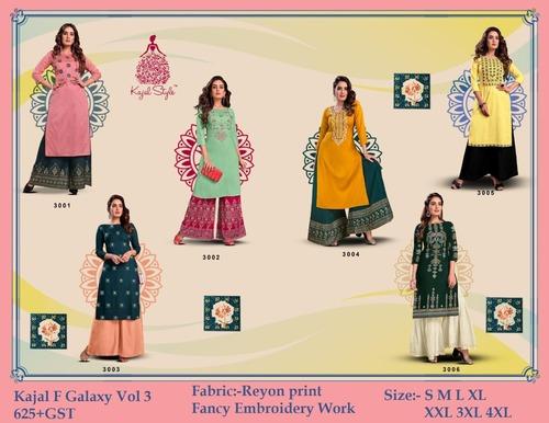 Fashion Galaxy  Vol 3 Rayon Kurti With Plazo & Sharara Pair