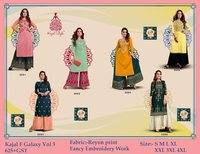 Fashion Galaxy  Vol 3 Rayon Kurti With Plazo & Sharara Pair