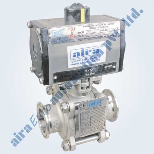 Pneumatic 3 PC Design Triclover Ends Floating Ball Valve