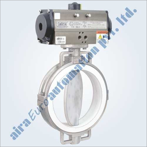 Pneumatic FEP - PFA Lined Butterfly Valve