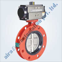 Pneumatic Rubber Lined Wafer Type Double Flange Butterfly Valve