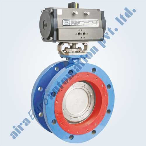 Pneumatic Triple Eccentric Off Set Disc Double Flange Butterfly Valve