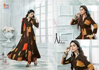 Saysa Viscous Rayon 14kg Discharge Print Gown Type Kurtis