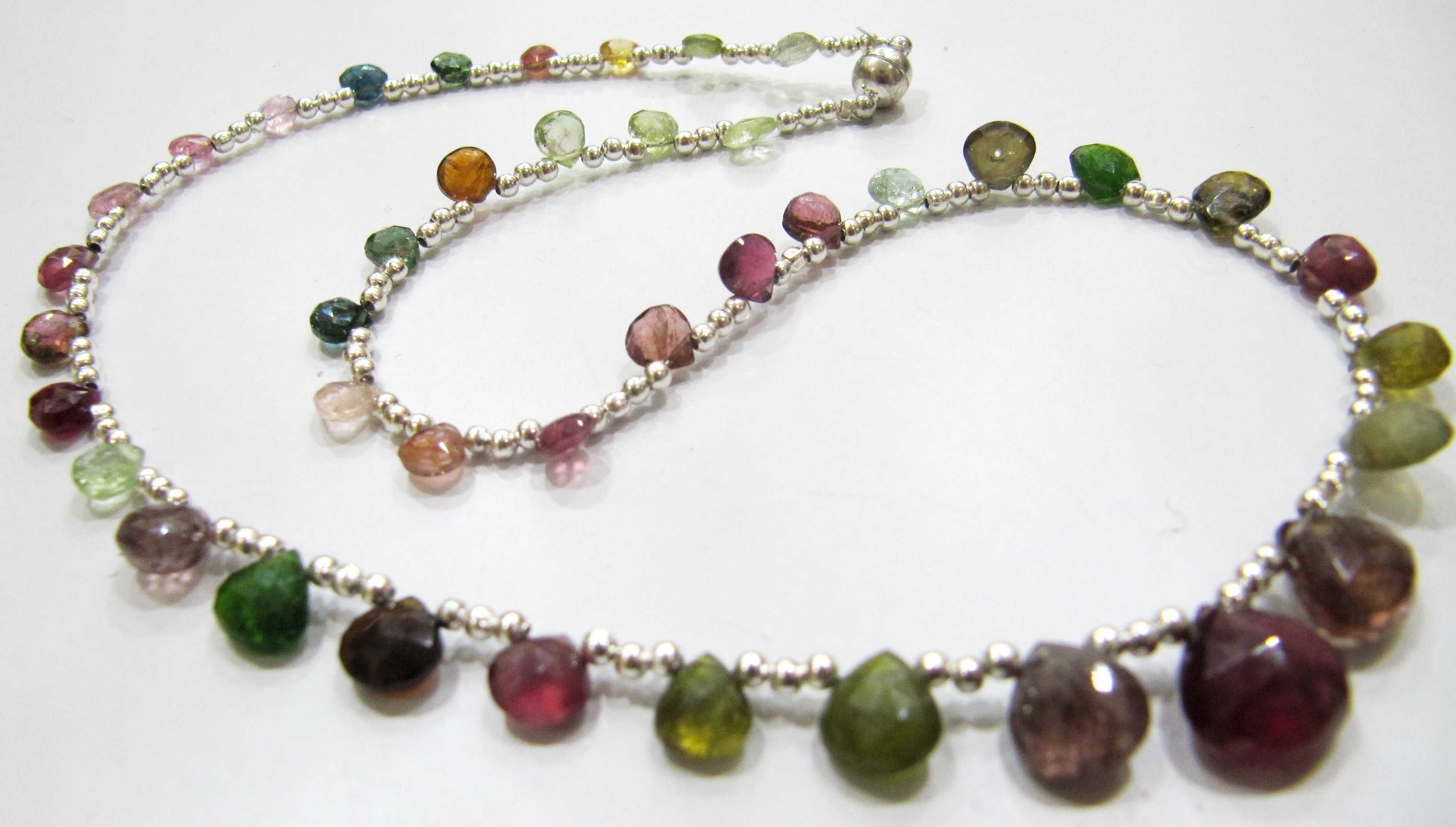 Natural Multi Tourmaline Briolette Faceted Heart Shape Necklace