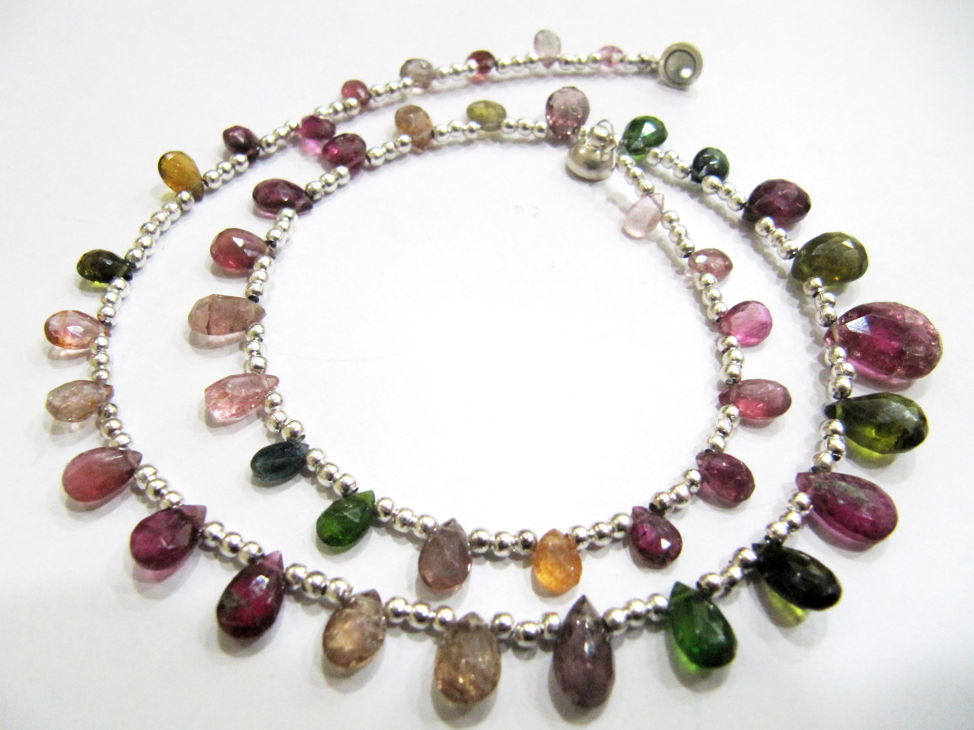 4X6mm to 9X12mm Natural Multi Tourmaline Briolette Faceted Pear Shape Necklace