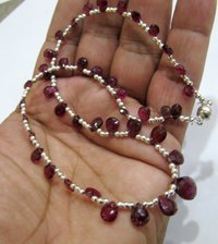 Natural Pink Tourmaline Briolette Faceted Pear Shape 4X6mm to 9X12mm Size Beaded Necklace 16 Inches Long With Magnetic Clasp