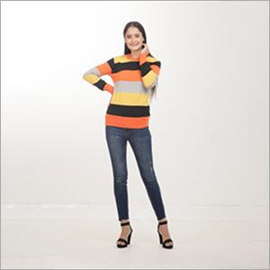 Ladies Multicolor Stripe Sweater