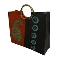 Wooden Cane Round Handle Pp Laminated Jute Shopping Bag