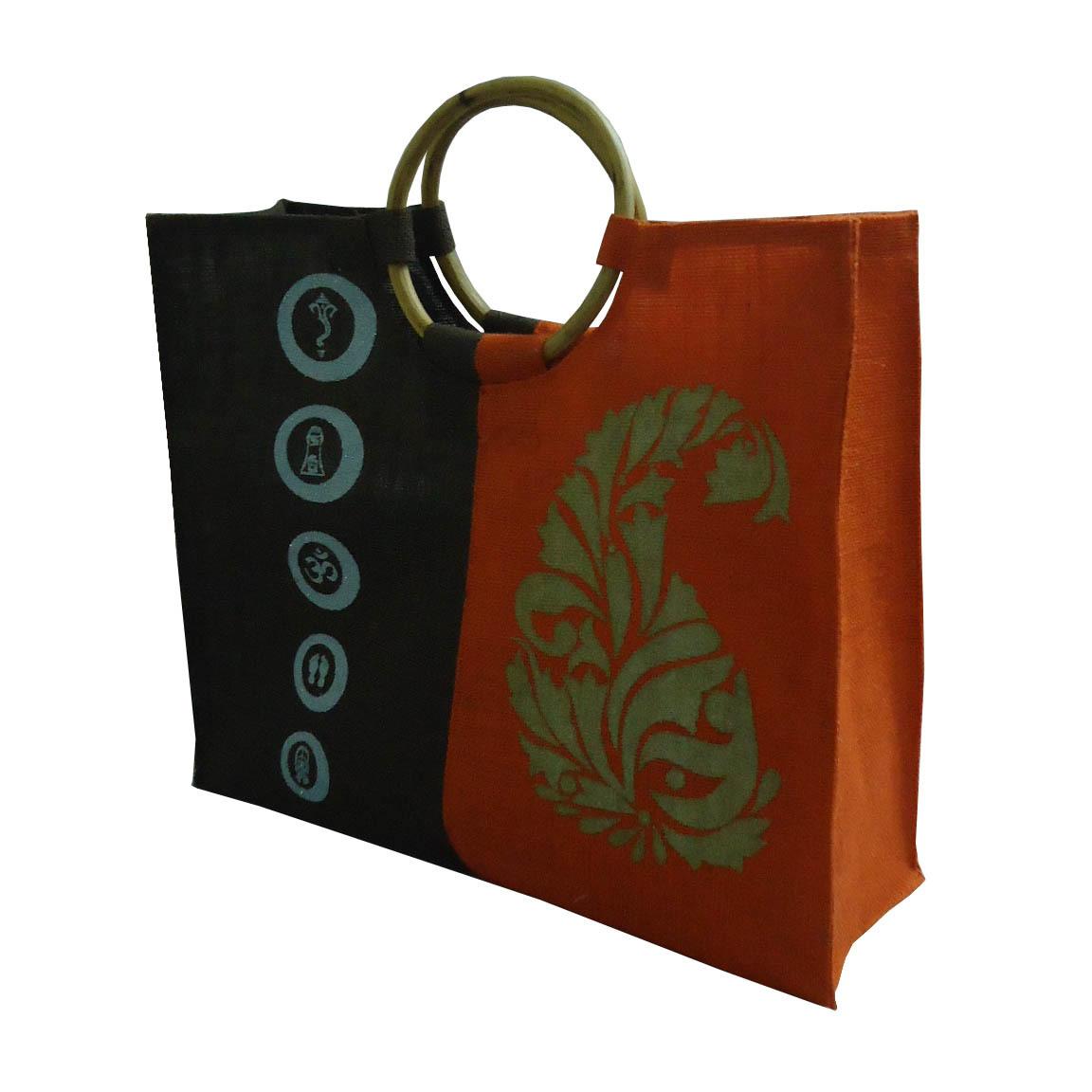 Wooden Cane Round Handle PP Laminated Jute Shopping Bag