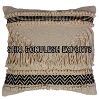 100% Cotton Designer White Cushion and Pillow Covers with Fringes