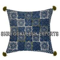 Elegant Stylish Living Room Designer Cotton  Cushion Covers With Tassels