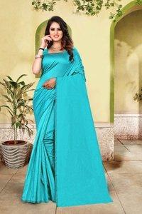 Designer Plain Cotton Silk Saree