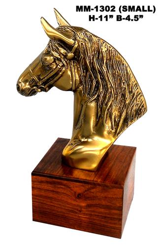 Half Horse Statue Brass Aluminium Wood