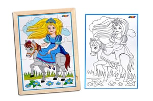 Kidken Princesses Jigsaw Puzzle with colouring sheet