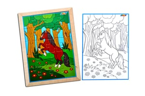 Kidken Horse Jigsaw Puzzle with colouring sheet