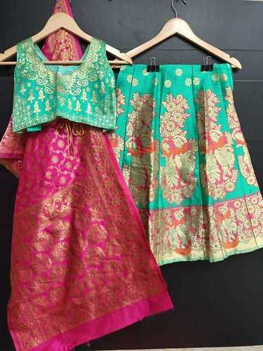 Girls Banarasi Silk Fully Stitched Kids Lehenga Choli