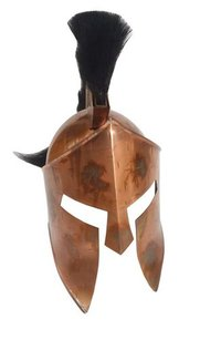Copper Antique MOVIE 300 King Leonidas Spartan Helmet - 300 Spartan Armour Helmet w/Black Plume