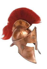 Copper Antique MOVIE 300 King Leonidas Spartan Helmet w/Red Plume - 300 Spartan Armour Helmet