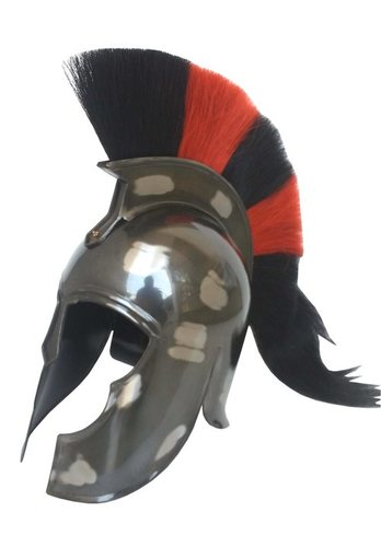Black Antique Troy Movie Sparta Helmet w/Red & Black Plume