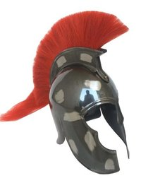 Antique Finish Movie Troy Spartan Helmet w/Red Plume