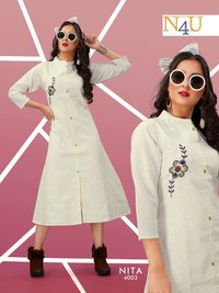 Handloom Cotton With Embroidery Work Kurti