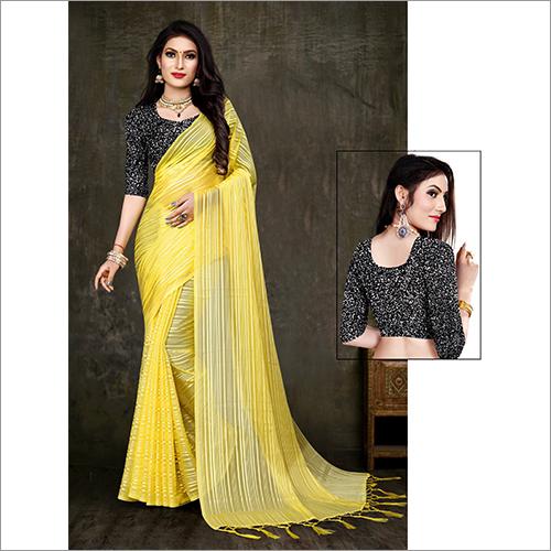 Ladies Yellow Designer Saree