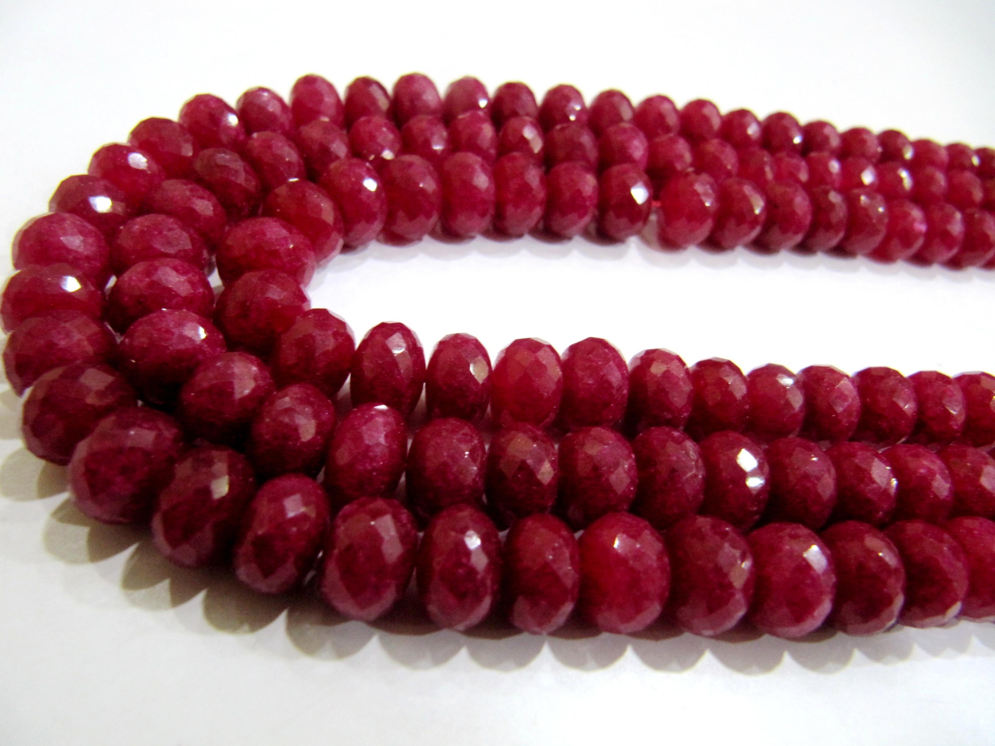 Natural Ruby Quartz Rondelle Faceted