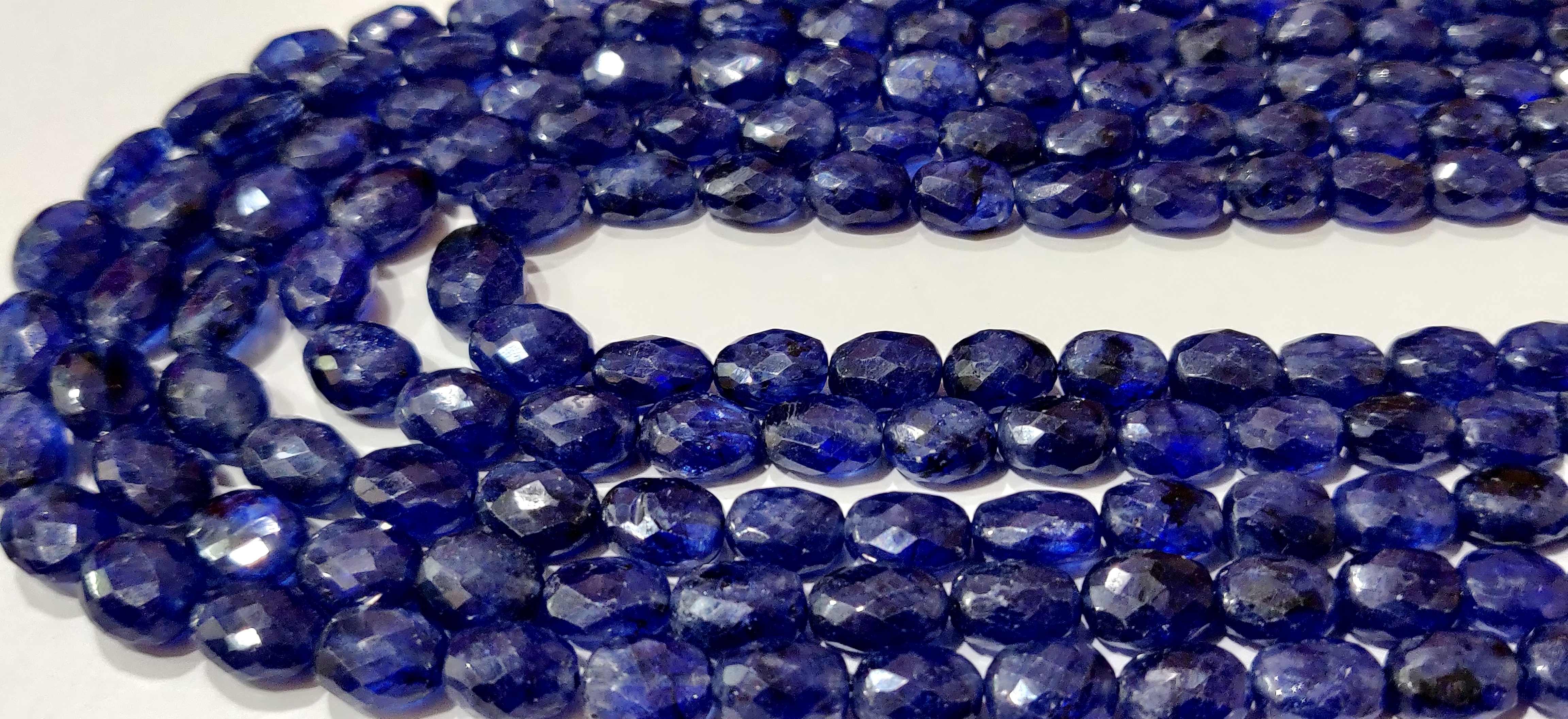 Natural Blue Sapphire Oval Shape Briolette Faceted 5x7mm to 8X11mm Size Beaded 18 inches long Necklace Top Quality Precious Gemstone