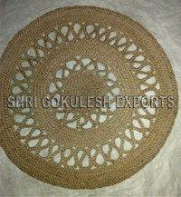 100% Handmade Round Shape Indian Braided Jute Carpets