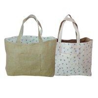 Reversible Jute Cotton Grocery Tote Bag