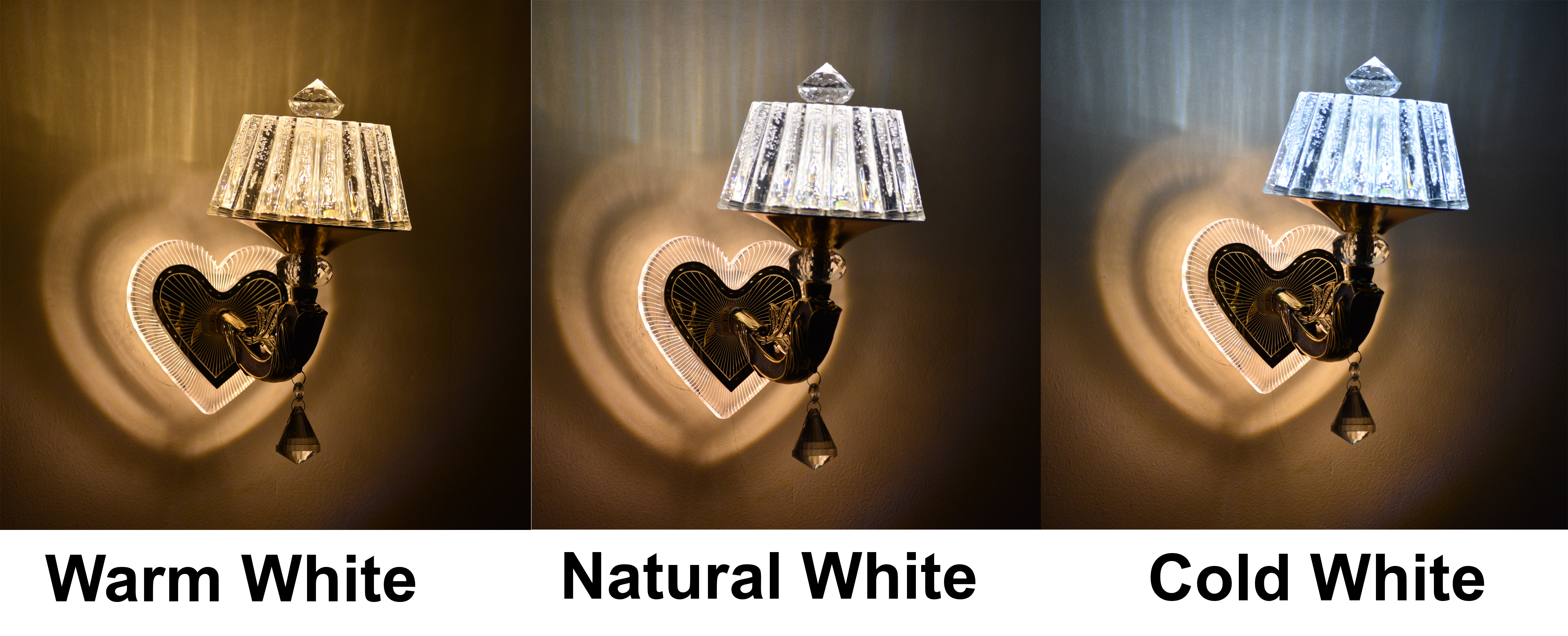 18W Heart Shape Wall Lamp Led (Warm White+ Natural White+ Cool White)