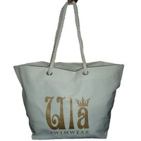 12 Oz Beach White Canvas Tote Bag With Twisted Rope Handle