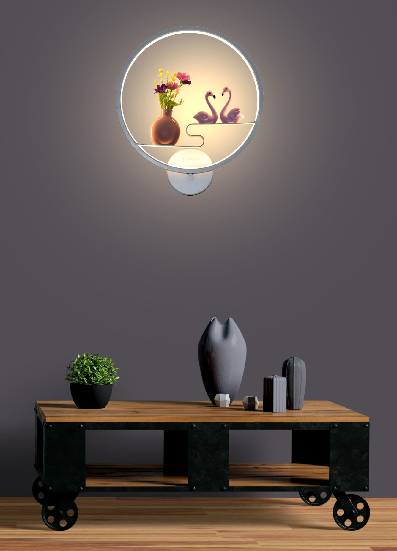 18w Ducks Wall Led Lamp With Flower (Warm White)