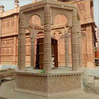 Sandstone Engraved Mandap Pillar