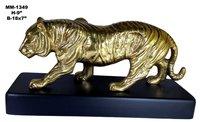 Tiger Statue Aluminium, Wooden Base, Brass Antique Finishing
