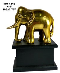 Elephant Statue Aluminium With Wooden Base, Brass Antique