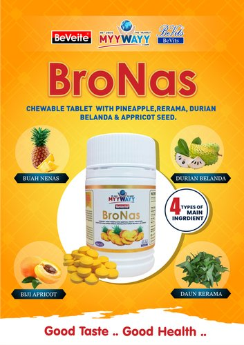 Bronas Chewable Tablet Additives: Natural Additive With Main Ingredients : Apricot Seed