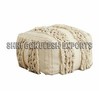 Handmade Seating Cotton Poufs And Ottomans Customized Size And Color