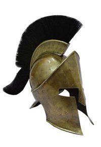 Cross Mark Dark Antique 300 Movie King Leonidas Spartan Helmet With Black Plume Movie Prop Replica Helmet