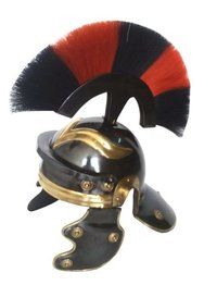 Black Antique Roman Centurion Armor Helmet w/Red & Black Plume