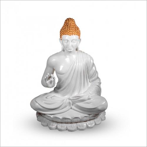 FRP Sitting Pose White Gautam Buddha Statue