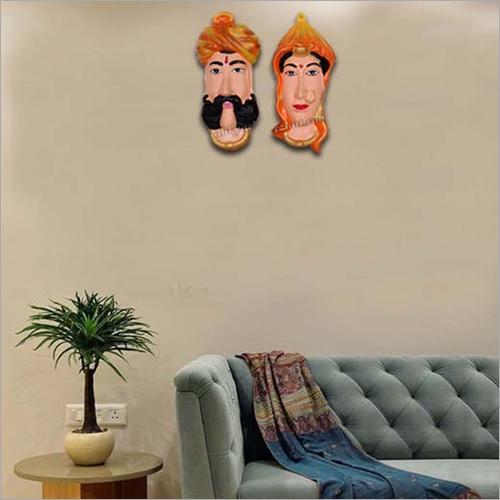 Rajasthani Orange Couples Face Wall Hanging