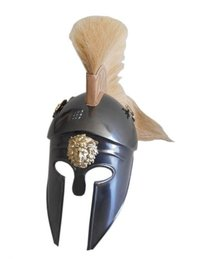 Greek Corinthian Armor Helmet with White Plume