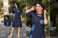 Z Blue Denim Cotton Heavy Long Designer Kurtis