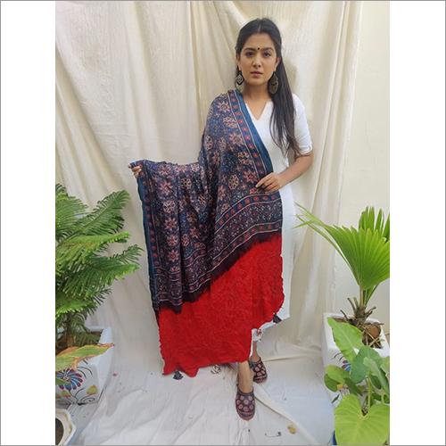 Ajrakh With Bandhni Pure Gajji Silk Dupatta