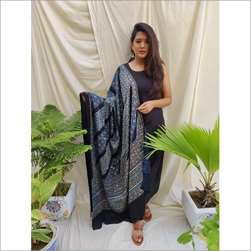 Handprinted With Natural Dye Modall Silk Ajrakh Dupatta