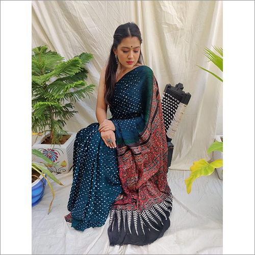 Ajrakh with Bandhni Modall Silk Saree