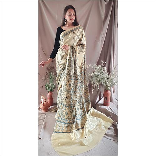Ajrakh Modall Silk Saree Tissue Pallu
